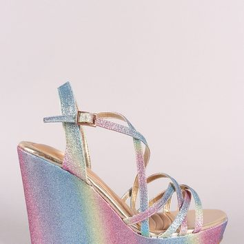 Bamboo Colorful Glitter Pastel Open Toe Crisscross Platform Wedge