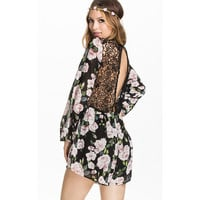 Lantern Sleeve Backless Lace Blocked Floral Jumpsuit Dress