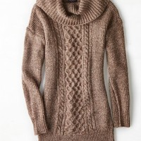 AEO Women's Cowl Neck Jegging Sweater (Heather Brown)