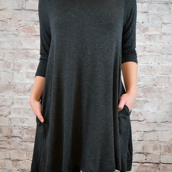 Marietta Pocket Swing Tunic - Charcoal
