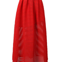 Red Mesh Stripe Maxi Skirt