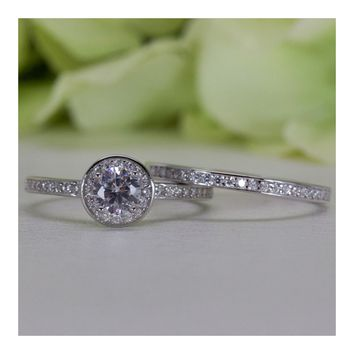 0.50 Ct. Sterling Silver Bezel Round CZ Wedding Ring Set
