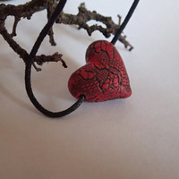 Necklace Polymer clay red heart with black lace pattern