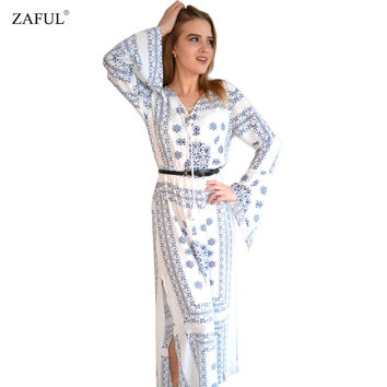 ZAFUL 2016 Vintage Floor length V- neck Print Maxi Dress Sspring Summer Long Boho Ethnic Party Dresses for women Gown Robe