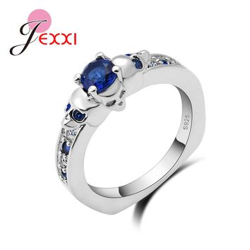 JEXXI Exquisite Jewelry Skull 925 Sterling Silver Wedding Rings Women Bijoux Blue Cubic Zircon Crystal Engagement Rings Punk