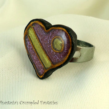 Purple yellow gold polymer clay faux cloisonne heart ring, Love affection friendship modern jewelry, Colorful boho, Valentine's day