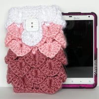 Pink Crocodile Stitch Crochet Cell Phone Cozy / Case
