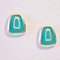 Vintage Green Enamel Earrings Rectangular Geometric Retro Jewelry Fashion Accessories For Her