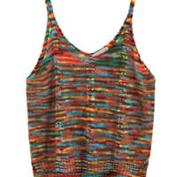 Multicolor V-neck Stitch Knit Vest