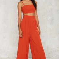 After Party Check Yourself Wide Leg Pants - Rust