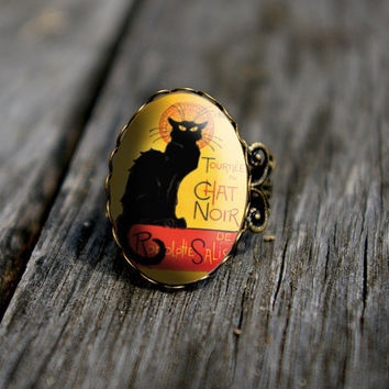 Vintage Chat Noir - adjustable ring