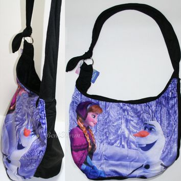 Licensed cool Disney Frozen Princess Anna & OLAF Snowman Hobo Bag Beach Tote Purse NEW