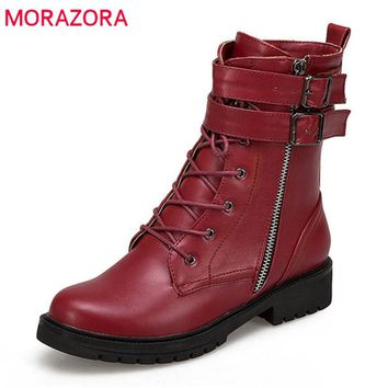 MORAZORA 2018 new arrival Martin boots round toe ankle boots for women zipper +lace up autumn winter boots fashion punk shoes