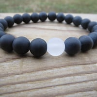 Gemstones Bracelet, Matte Black Onyx, Yin Yang Bracelet, Gift For Her, Gift For Him, Stretch Bracelet, Black and White