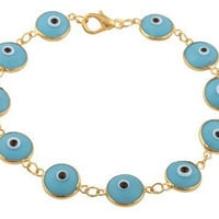 Two Year Warranty Gold Overlay with Light Blue 7.75 Inch Evil Eye Style Clasp Bracelet