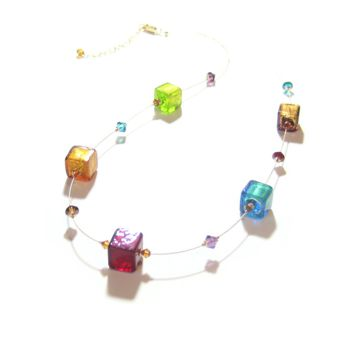 Murano Glass Colorful Large Cube Gold Necklace, Illusion Necklace