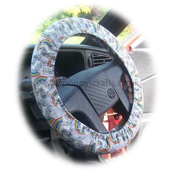 Unicorn's and Rainbow's on Grey cotton car steering wheel cover