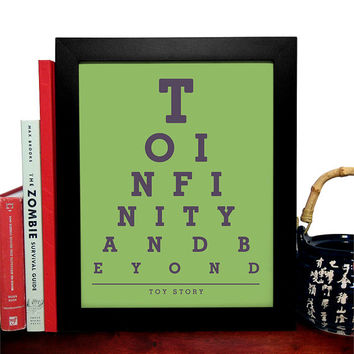 Toy Story, To Infinity And Beyond, Eye Chart 8 x 10 Giclee Art Print, Buy 3 Get 1 Free