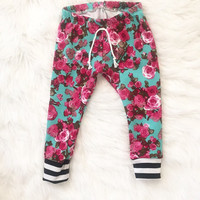 Baby, toddler, girl, floral, gift, stripes, sweats, skinny sweats, pants, pink and blue