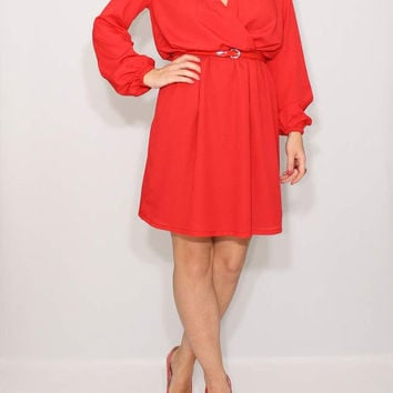 Short chiffon dress Red dress Long sleeve dress Prom dress