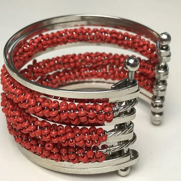 Vintage Red and Silver Tone Statement Cuff / Wide Beaded Cuff Bracelet / Red Seed Beads / Silver Wire Cuff Bangle / Big Boho Gypsy Arm Cuff