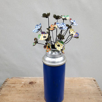 Simple Prairie  Bouquet of Metal Flowers Blue Green and Yellow Gingham In Vintage Thermos