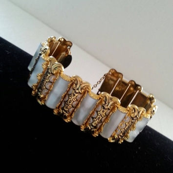 Mid Century Damascene Bracelet Mother of Pearl Collectible Vintage Mop 1950's 1960's Exquisite Beautiful Jewelry