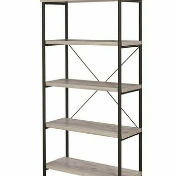 Barritt collection grey driftwood finish wood with black metal frame 5 tier shelf