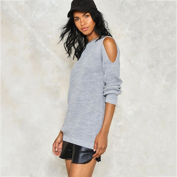 Shoulder Cut Out Loose Fitted Sweater