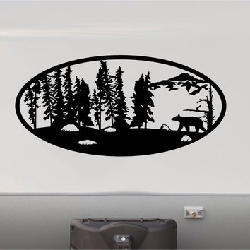 Brown Bear Forest Hunting Mountains RV Camper 5th Wheel Motorhome Vinyl Decal Sticker Graphic Custom Text Mural