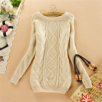 Brand New Autumn Winter Female Mohair Sweater Plus Size Knitted Long Sleeve O-neck Pullovers Hot  70077 SM6