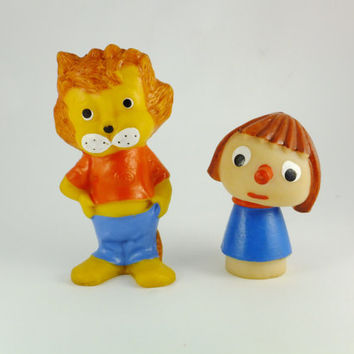 Vintage Lion Rubber and Pinocchio,Buratino Rubber Toy Russian Lion Rubber Baby Bath Toy Chew Toy, CCCP