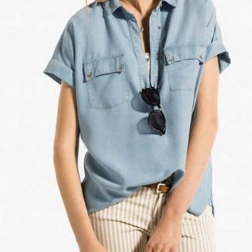 Denim Cuff Sleeve Button-Up Collared Shirt