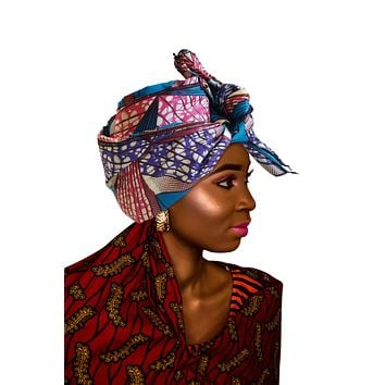 "SALE - KENTE Extra Long 72""×22"" Headwrap ANKARA Dashiki African Print Head Wraps/Scarfs for Women - Blue, Pink and White Headwrap Tie Hat - Ethnic Tribal"