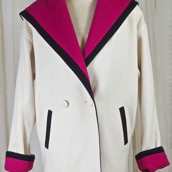 Braefair wool color blocked coat. White, magenta and black. Clean, and lovely