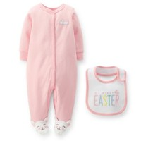 "Carter's® 2-Piece Bunny Footie and ""My First Easter"" Bib Set in Pink"
