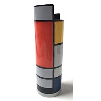 Mondrian Red Blue Yellow Modern Art Ceramic Flower Vase 9.75H