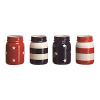 Patriotic Dolomite Mason Jar - Set of Four