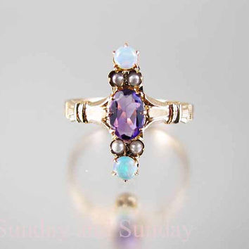 Edwardian 14k rose gold amethyst opal seed pearl antique ring