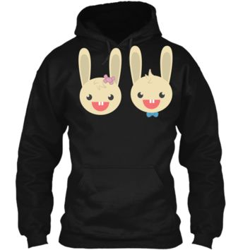 Cute Rabbit Bunny Couple Valentines Day Easter Shirt Pullover Hoodie 8 oz