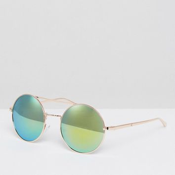 AJ Morgan Mirrored Lense Round Sunglasses at asos.com