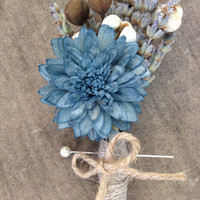 Handmade Wedding Boutonnieres - Blue Sola China Flower Boutonnieres, Lavender Boutonnieres, Tallow Berry Boutonnieres, Twine, Country Rustic