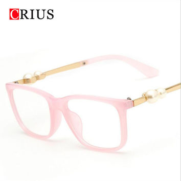Brand CRIUS new glasses frame Women's glasses frame Fashion rectangle Pearl plain women Eyeglass frames oculos feminino