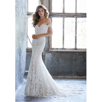 Morilee 8203 Kassia Romantic Fitted Lace Sheath Wedding Dress