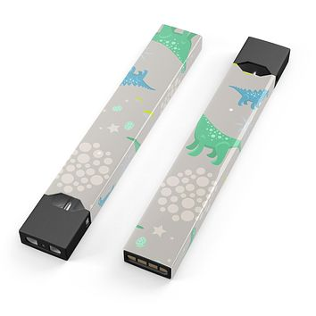Skin Decal Kit for the Pax JUUL - Curious Green and Blue Dinosaurs