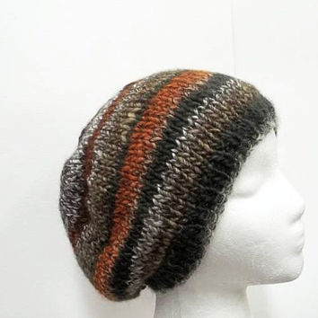 Beanie hat  multicolor  hand knitted  5247