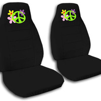 cool peace sign w/flower front car seat covers CHOOSE,MORE ITEM&BACK SEAT AVBL