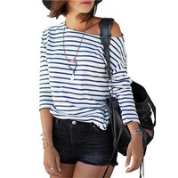 2016 Spring New Arrivals Fashion Blue and White Round Neck Long Sleeve Striped Loose Tops Womens Casual Simple T-Shirt