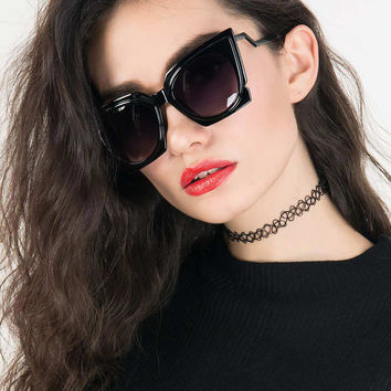 Black Chunky Cat Eye Tinted Sunglasses