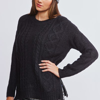 0705-24859547 Cable Knit Sweater With Zippered Sides